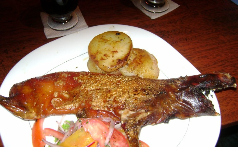 Frittiertes Meerschweinchen mit Kartoffeln